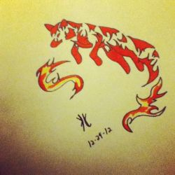 fire fox tribal style by 01whitewolf