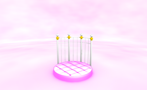 MMD Cute pink round bed stage by amiamy111