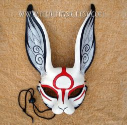 Japanese Sumi-e leather rabbit mask by merimask