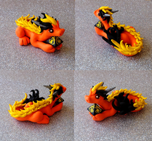 Orange Oriental D8 Dice Dragon by Alexandrite-Dragons