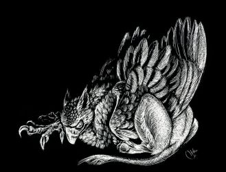 Sleeping Griffin by CoatNTails