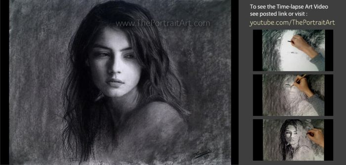 Wistful Girl in Charcoal by theportraitart