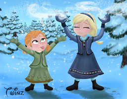 Anna And Elsa - Let It Snow! by cjtwins