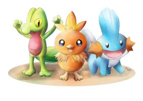 Pokemon Hoenn starters by Advent-Hawk