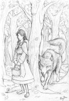 Red Riding Hood and Wolf by nemosapien