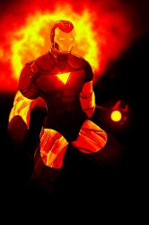 Iron Man on fire by tim-grave
