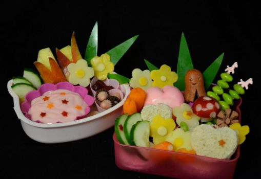 Hearts and Flowers Bento by LaFoi