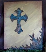 Crackle Cross on Gold by mirroreyes1