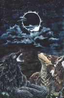 Contest Entry - Wolves during the solar eclipse by Ricoro