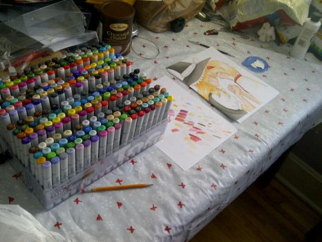 My Current Copic Workspace by inuonlyone