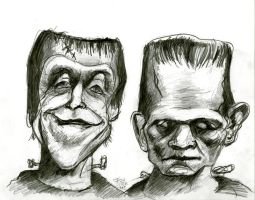 Herman Munster and Boris Karloff's Frankenstein by Caricature80