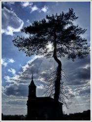 church and tree by darkcollector