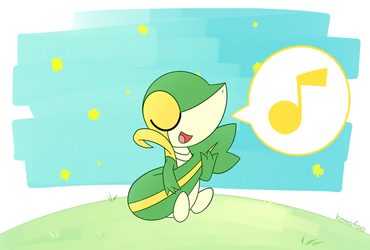 Snivy playing guitar by kemofoo