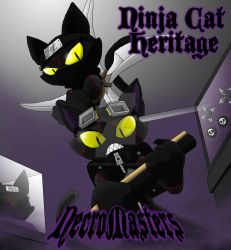 NecroMasters - Card Art - Ninja Cat Heritage by PlayboyVampire