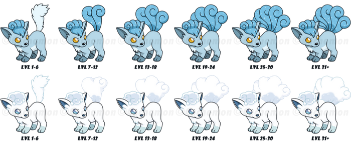 Snow and Alola Vulpix Tails Growing Process by Cachomon