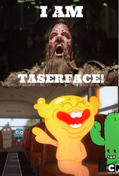 Penny laughing at Taserface by TheCartoonWizard