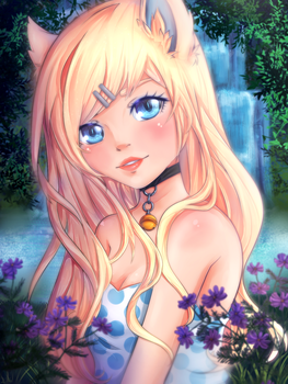 Catgirl near the waterfall by Jellymii