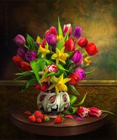 Still Life with Tulips and Strawberry by IgnisFatuusII