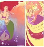 Ariel and Rapunzel by viria13
