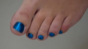 Smurfette's Toes in Metallic Blue 3 by Feetatjoes
