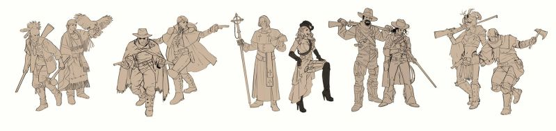 Wild West character sketches by mannequin-atelier