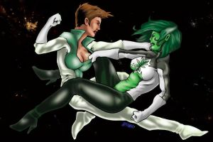 Internship Work: Green Lantern Girls fight by Punch-line-designs