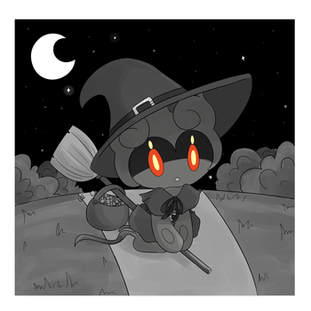 Inktober Day 2 - Witchy Marshadow by gloriouslayde