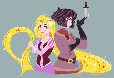 Rapunzel and Cassandra by hirosi41