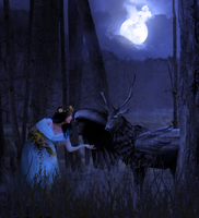 The Maiden And The Winged Stag by SybilThorn
