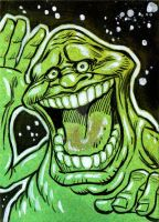 Ghostbusters Slimer Sketch Card by timshinn73