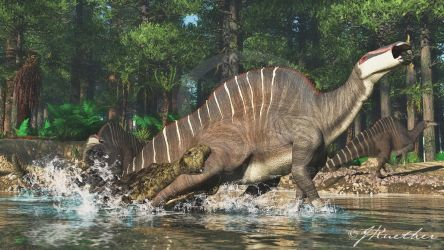 Sarcosuchus, Ouranosaurus by PaleoGuy