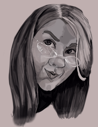 Self Portrait Digital Painting BW by AshleyAKnapp