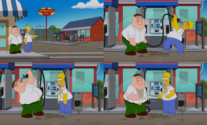 The Simpsons Guy - Homer and Peter Drink Gas by dlee1293847