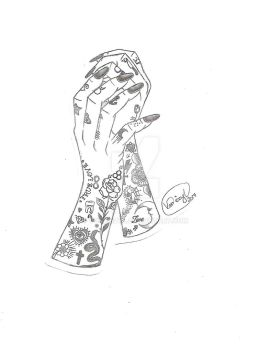 Neo Trad Tatted Hands Tattoo Design