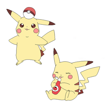 Pikachu with pokeball and ketchup - lineart by michy123