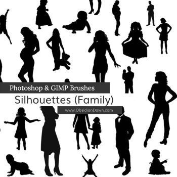 Silhouettes Photoshop and GIMP Brushes by redheadstock