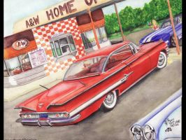 60 Impala At A and W Drive In by FastLaneIllustration