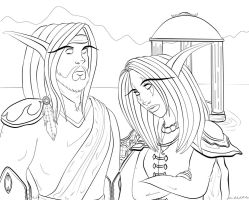 Line Art: Night Elves by Musing-Zero