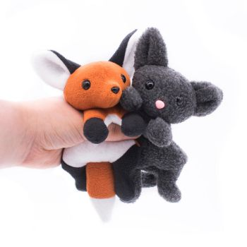 Fox and Cat Plushies by BeeZee-Art