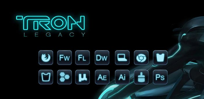 tron object dock icons by ryujin2490