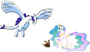 Princess Celestia, Shifu and Lugia by iamnater1225