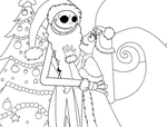 Jack and Sally (Line Art) *Commission* by UrsineTimes