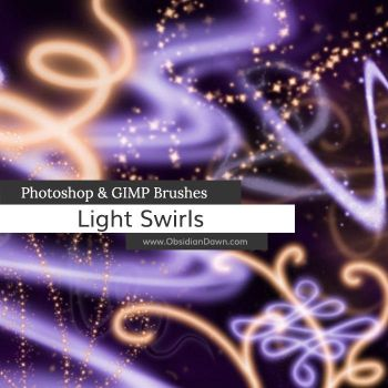 Light Swirls Photoshop and GIMP Brushes by redheadstock