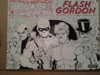 Flash Gordon Sketch Cover Featuring The Defenders by epitaphgraphix