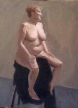 oil painting of a nude woman by Rontu827