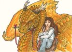 golden dragon and rider ACEO by akeyla