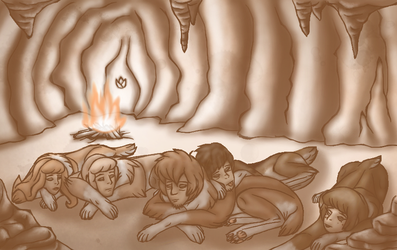 Sleepy snow-sphinxes in a cave by Copanel-CP