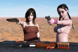 Sisters at the range 1 by erogenesisCGI