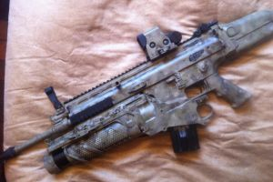 SCAR-L Carbine w/ EGLM Launcher in ATACS paint by moose-lee