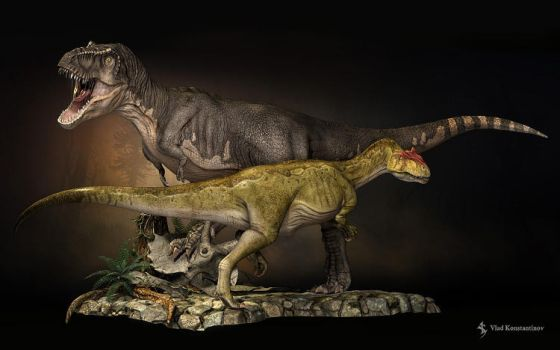 T-Rex compared to Allosaurus by Swordlord3d